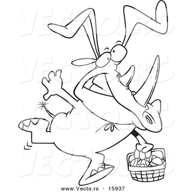 600x620 Vector Of Cartoon Easter Rhino Wearing Bunny Earsnd Carrying