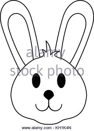 300x417 Bunny Cute Funny Cartoon Head. Rabbit Vector Illustration Stock