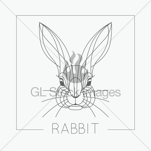 500x500 Abstract Rabbit Bunny Head Emblem Icon Design With Elegan Gl