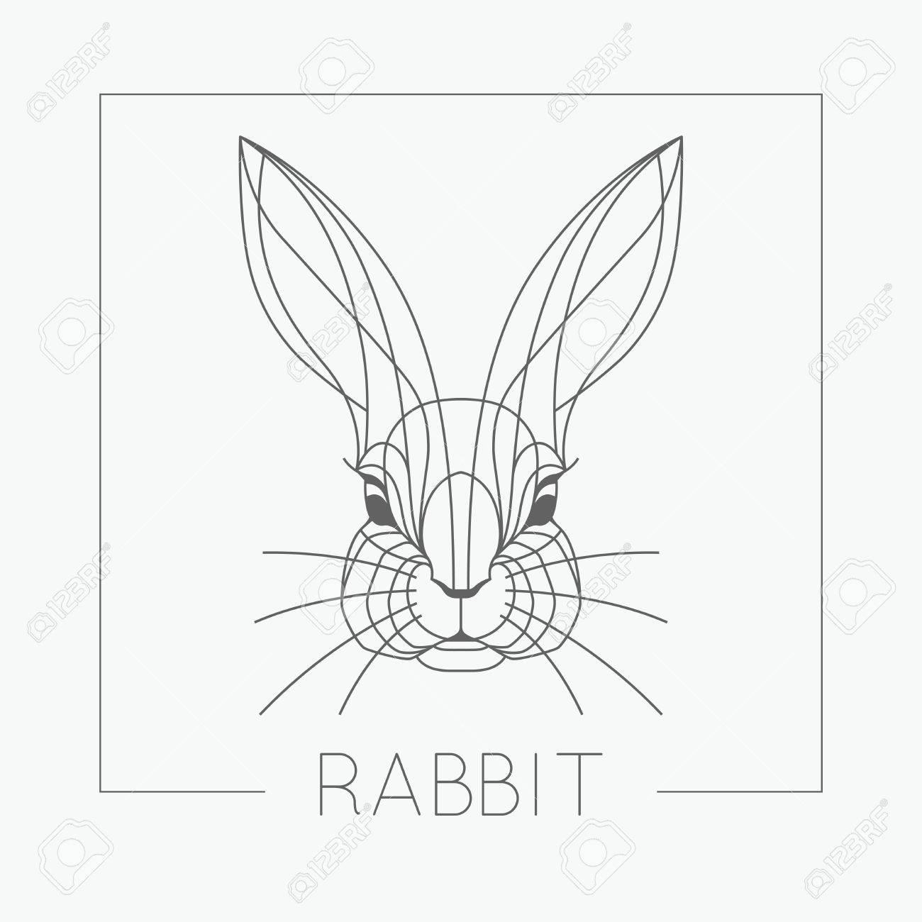 1300x1300 Abstract Rabbit Bunny Head Emblem Icon Design With Elegant Line