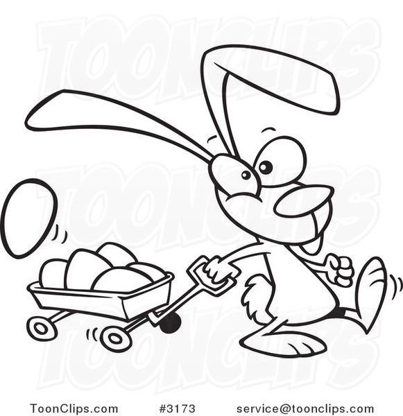 581x600 Cartoon Black And White Line Drawing A Bunny Pulling A Wagon