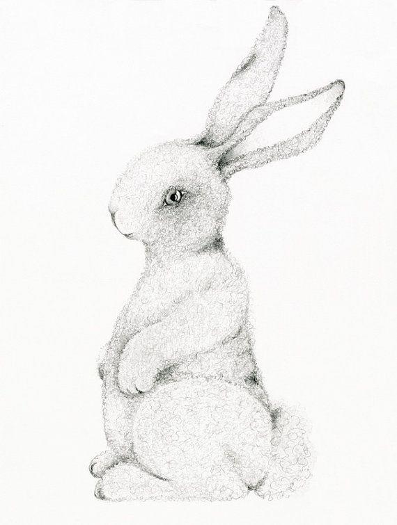 570x755 Bunny Rabbit Art Print Drawing Of A Bunny Rabbit Easter Decor