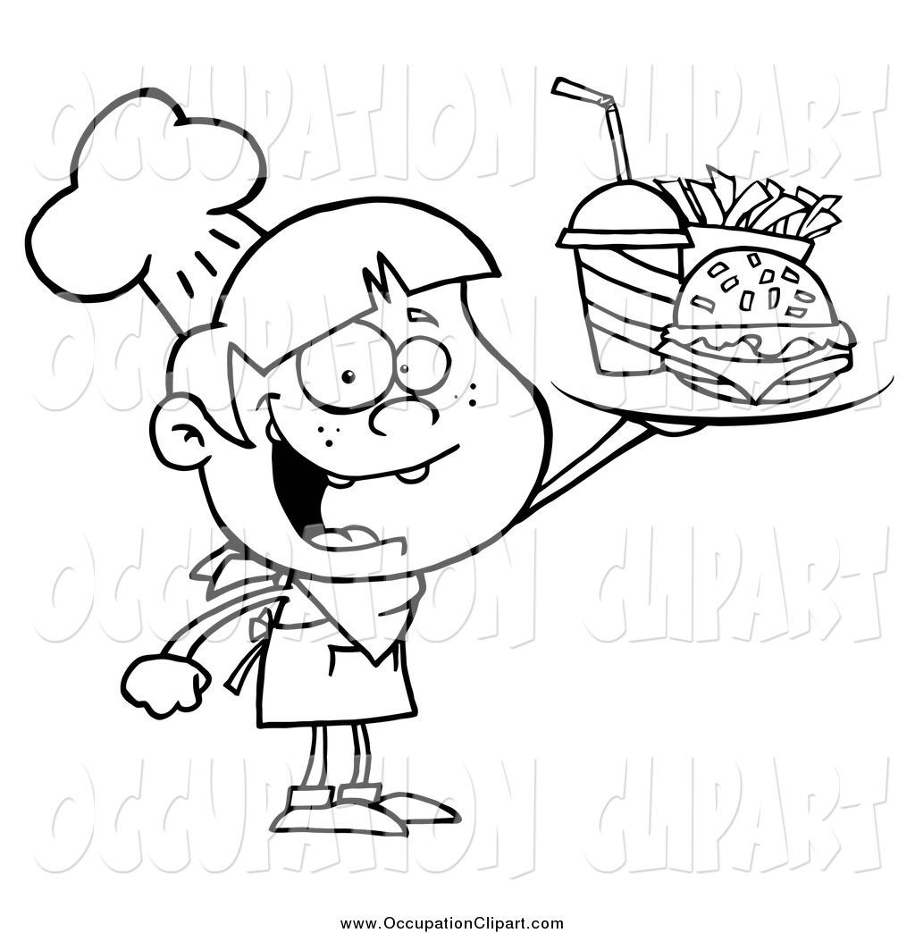 1024x1044 Cliprt Of Blacknd White Burger Boy Holding Up Tray