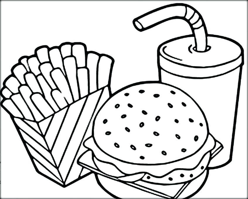 burger coloring page - burger and fries drawing at free for