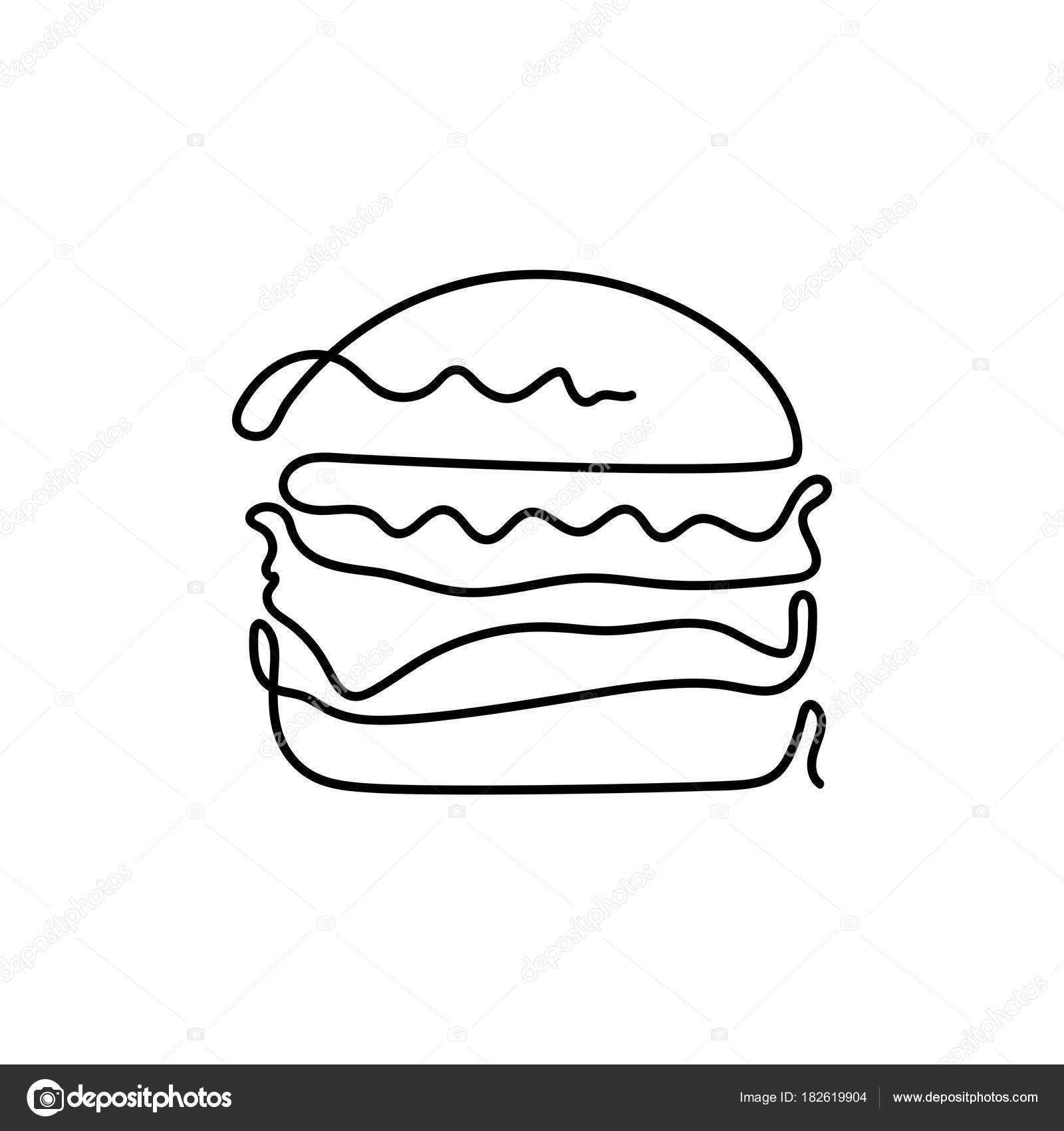 1600x1700 Continuous One Line Drawing Burger Stock Vector C Yellowline