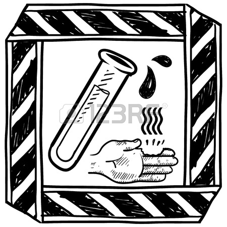 450x450 Doodle Style Danger Of Chemical Spill Or Burn Caution Sign Sketch