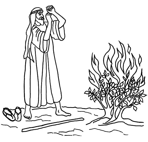 600x575 Burning Bush Moses Coloring Pages