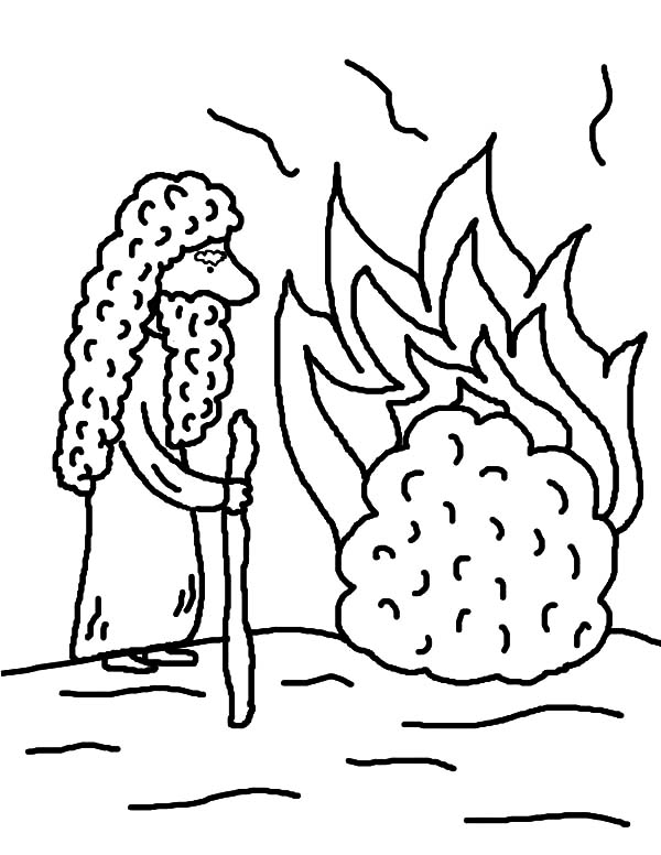 600x776 Cartoon Of Moses Burning Bush Coloring Pages