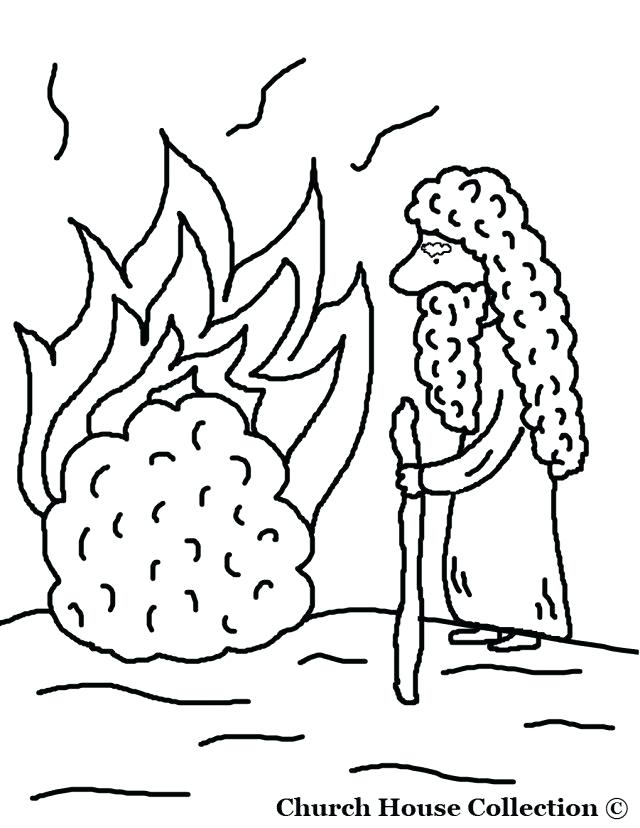 640x828 Moses And The Burning Bush Coloring Page Drawing And Burning Bush
