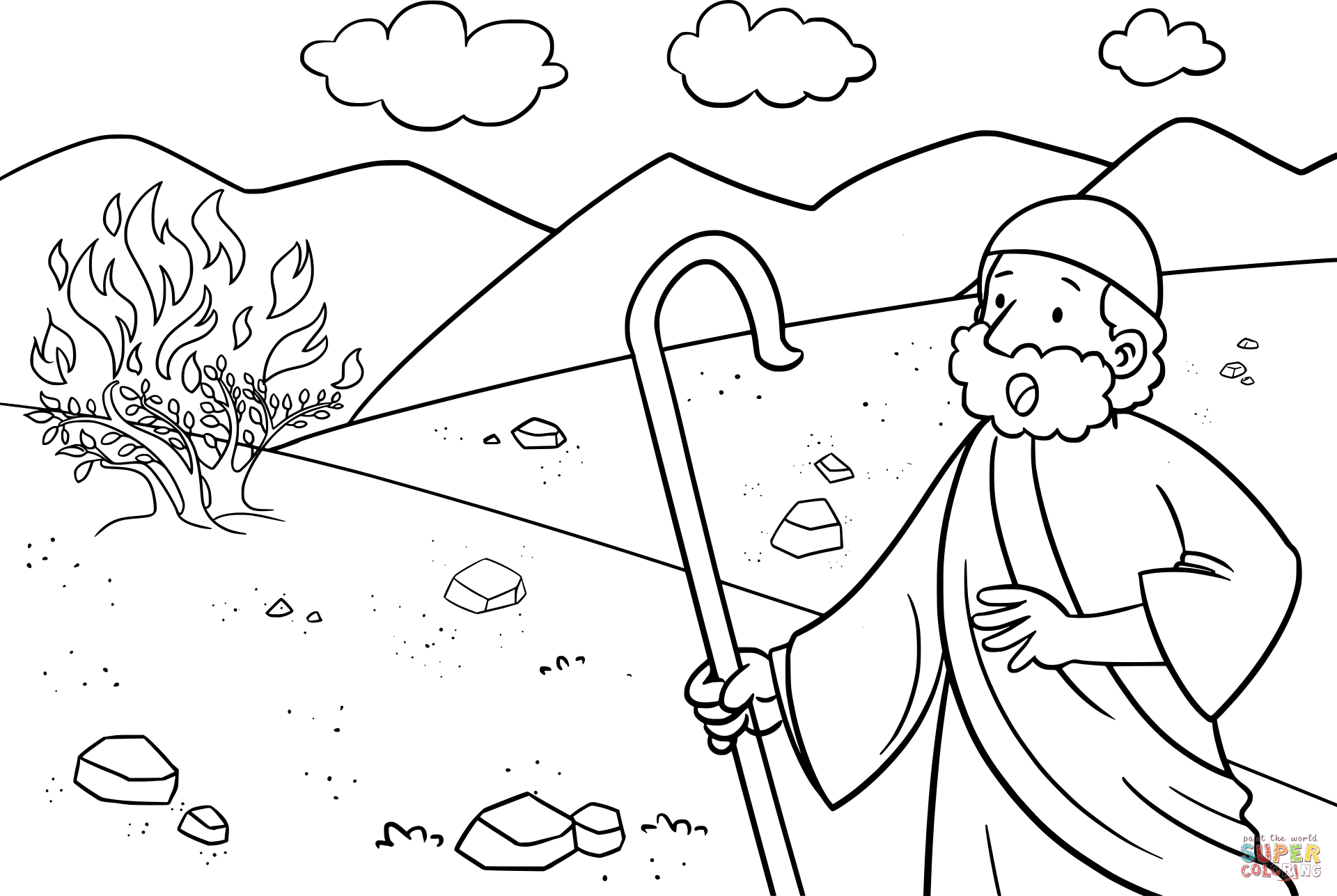 1920x1287 Moses And The Burning Bush Coloring Pages