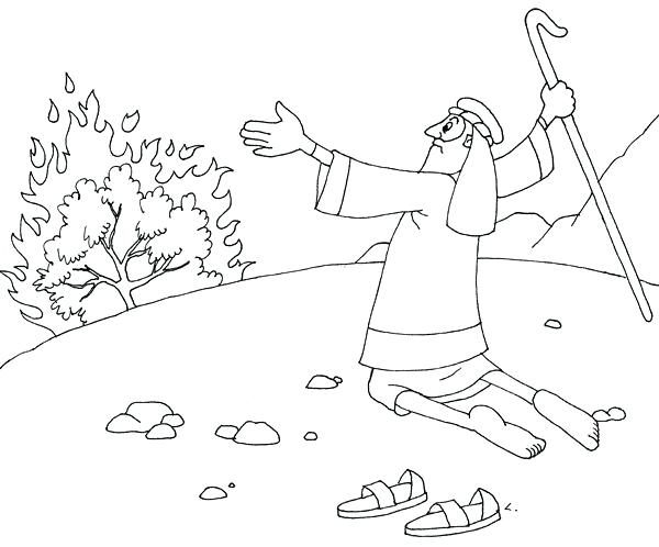 600x498 Moses And The Burning Bush Coloring Pages 28063