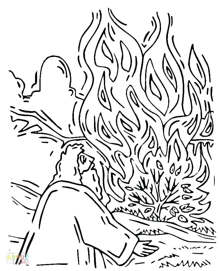 750x929 Moses And The Burning Bush Coloring Pages And The Burning Bush