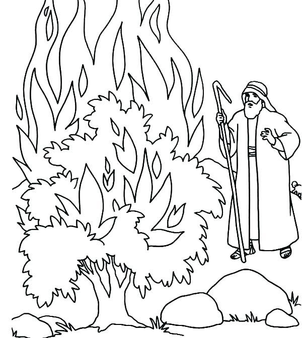 600x673 Moses Burning Bush Coloring Page Coloring Pages And The Burning