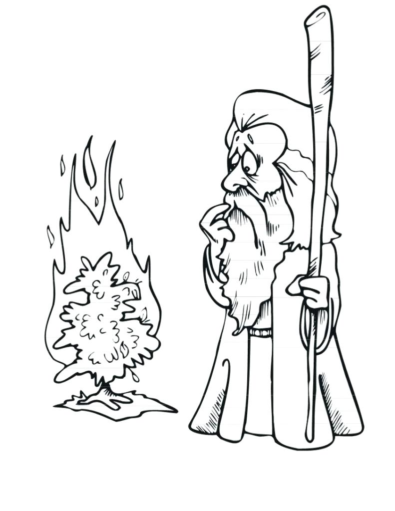 791x1024 Coloring Burning Bush Coloring Page