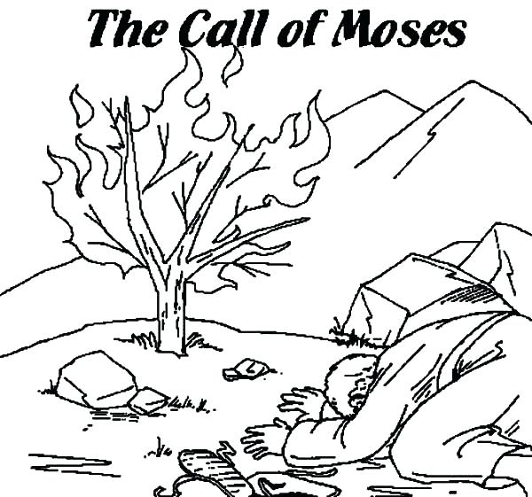 600x561 Burning Bush Coloring Page See Burned Bush Coloring Page Burning