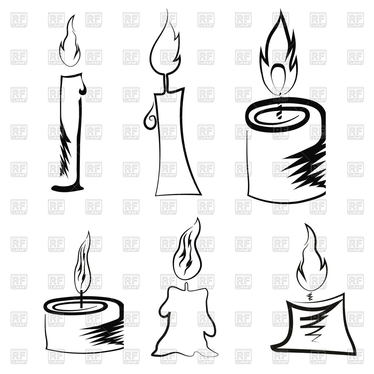 1200x1200 Different Burning Retro Candles Royalty Free Vector Clip Art Image