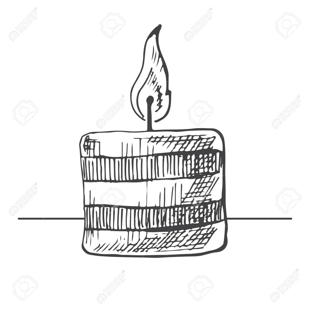 1300x1300 Hand Drawn Burning Candle Isolated On White Background. Vector