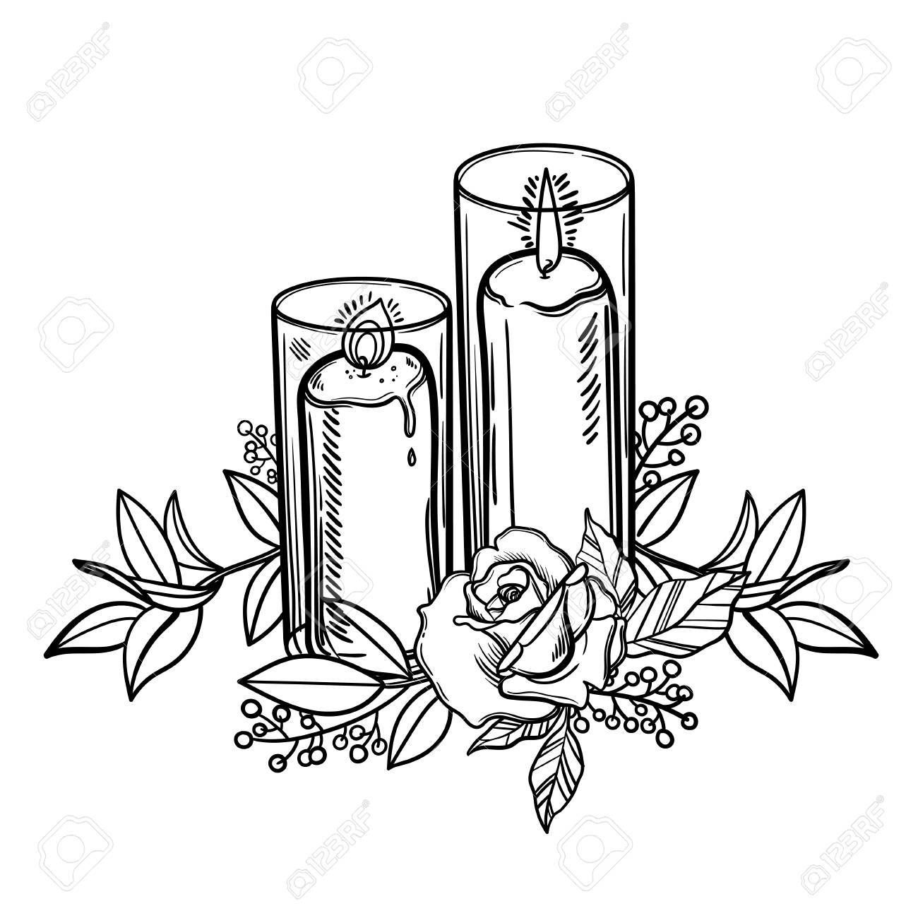 1300x1300 Vintage Burning Candle And Rose Flower. Romantic Tattoo. Esoteric