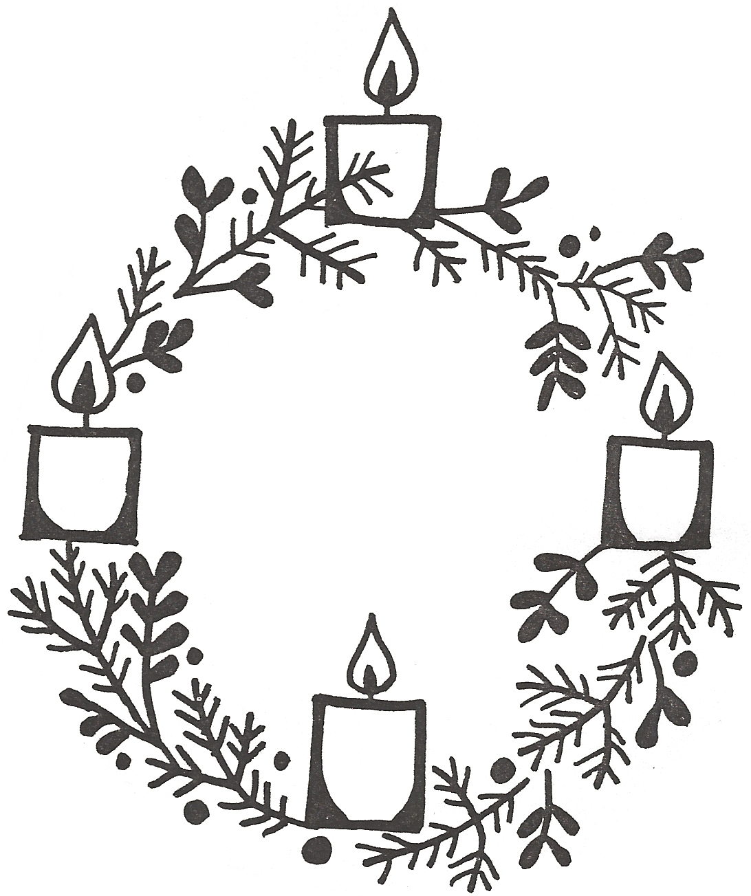 1092x1303 Clipart Advent Wreath Three Candles Lit
