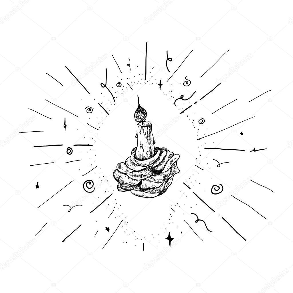 1024x1024 Burning Candle In Rose Stock Vector Barsrsind