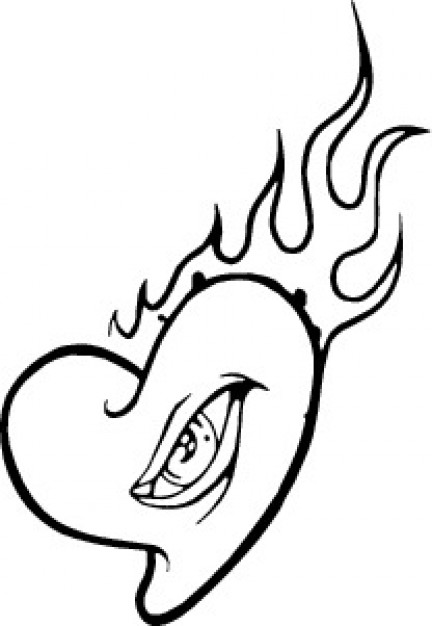 432x626 Burning Heart With Eye Vector Free Download