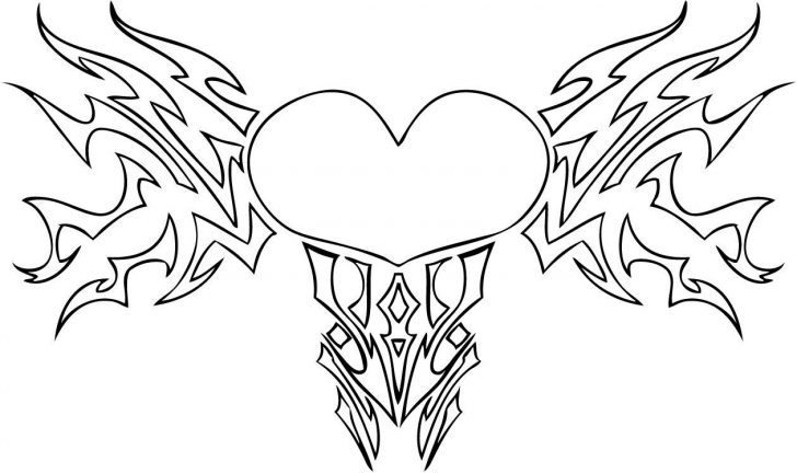 728x432 Heart Coloring Pages Love Burning And Butterflies Page Pictures