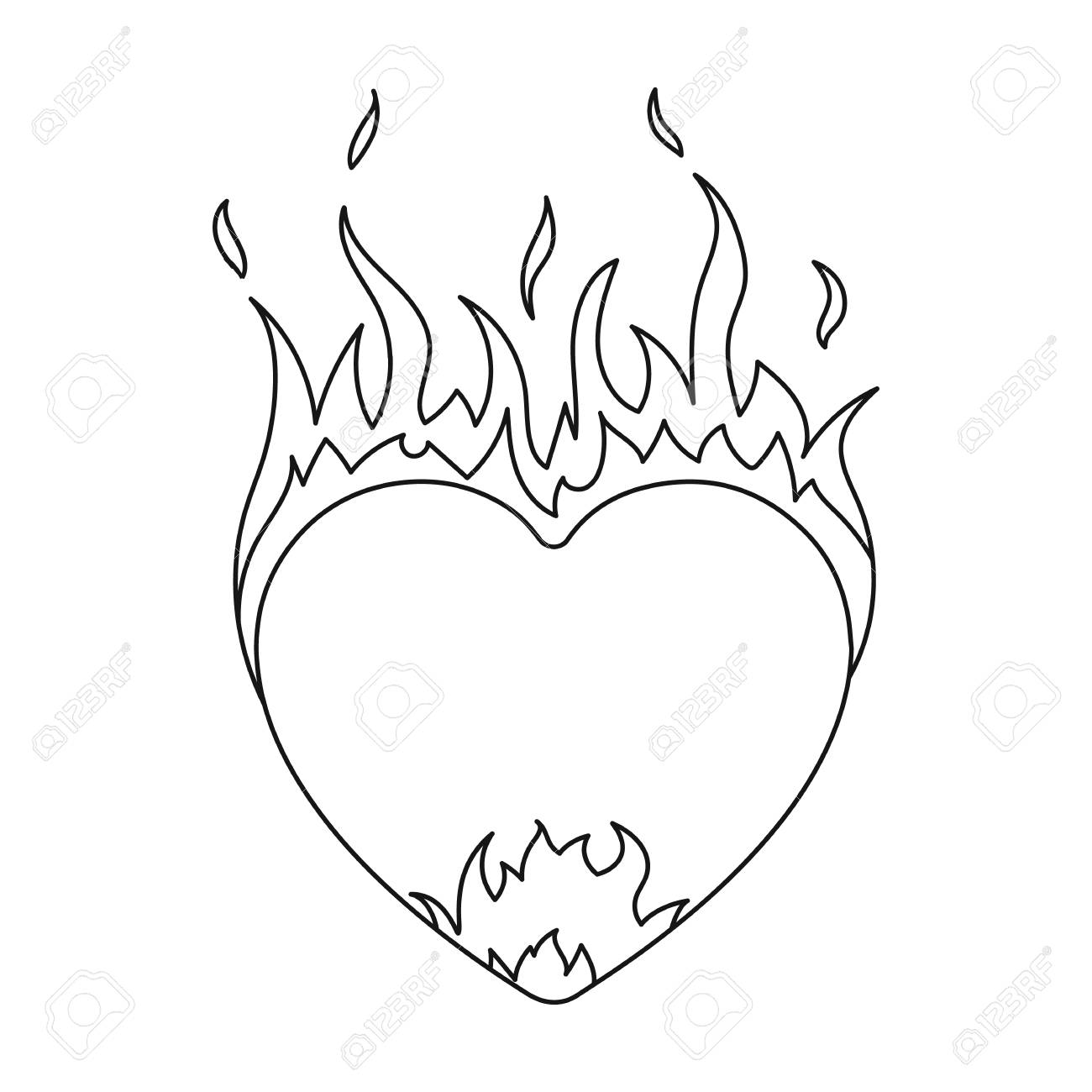 1300x1300 Heart In Flame Icon In Outline Style Isolated On White Background