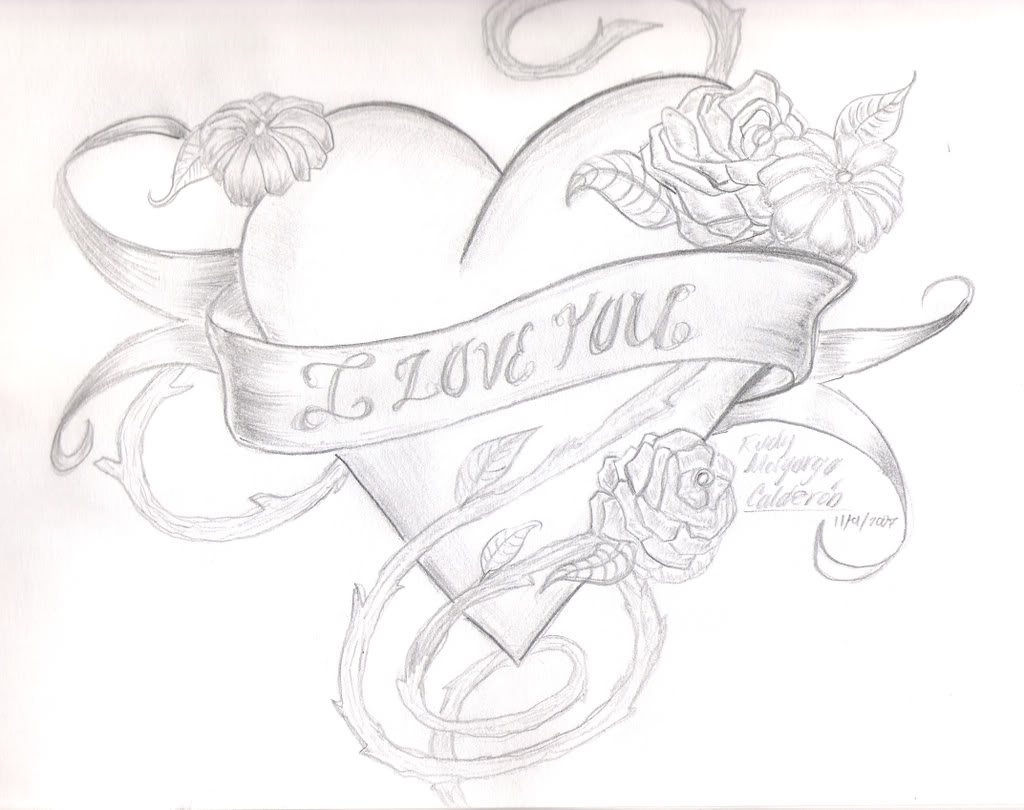 1024x810 Heart With Rose Pencil Sketch Pencil Sketches Of Hearts And Roses