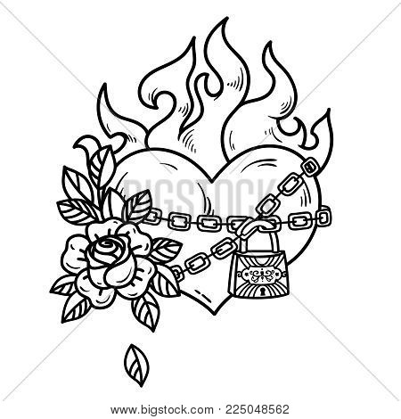450x470 Tattoo Flaming Heart Bound By Vector Amp Photo Bigstock