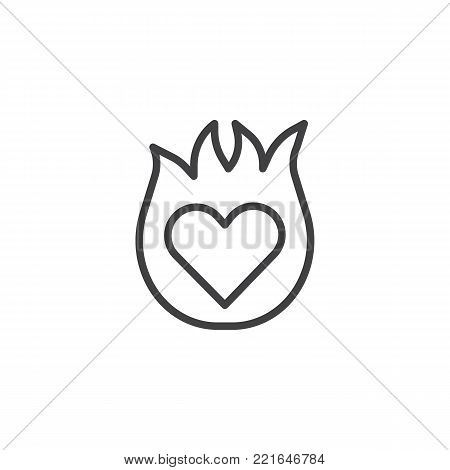 450x470 Burning Heart Line Icon, Outline Vector Amp Photo Bigstock