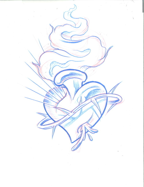 500x647 Burning Heart Tattoo Picture