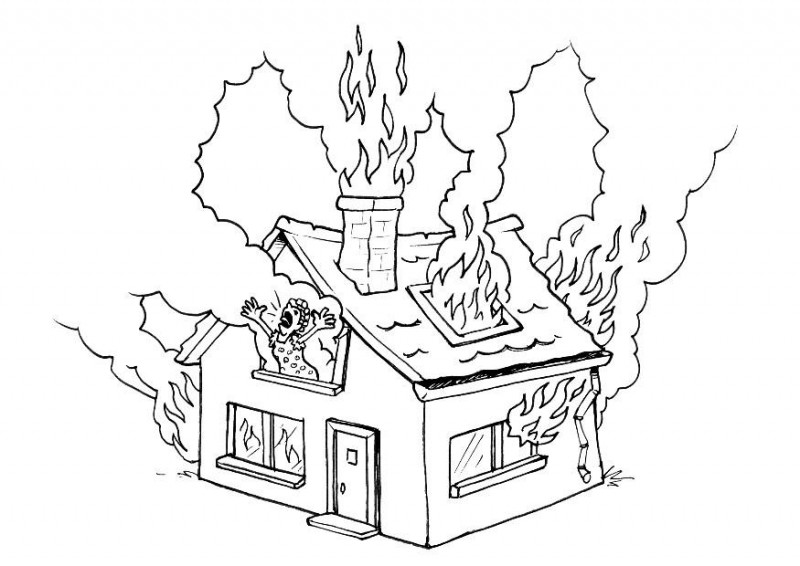 800x566 House In Fire Drawing
