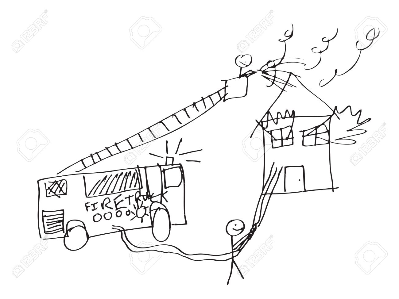 1300x975 A Vector Format Image Of A Child Like Drawing Of Firemen Trying