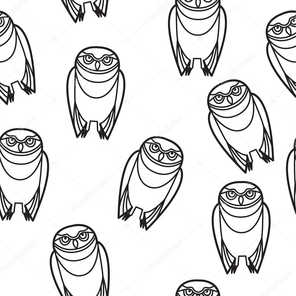 1023x1023 Seamless Owl In Tribal Style Stock Vector Suwanneeredhead