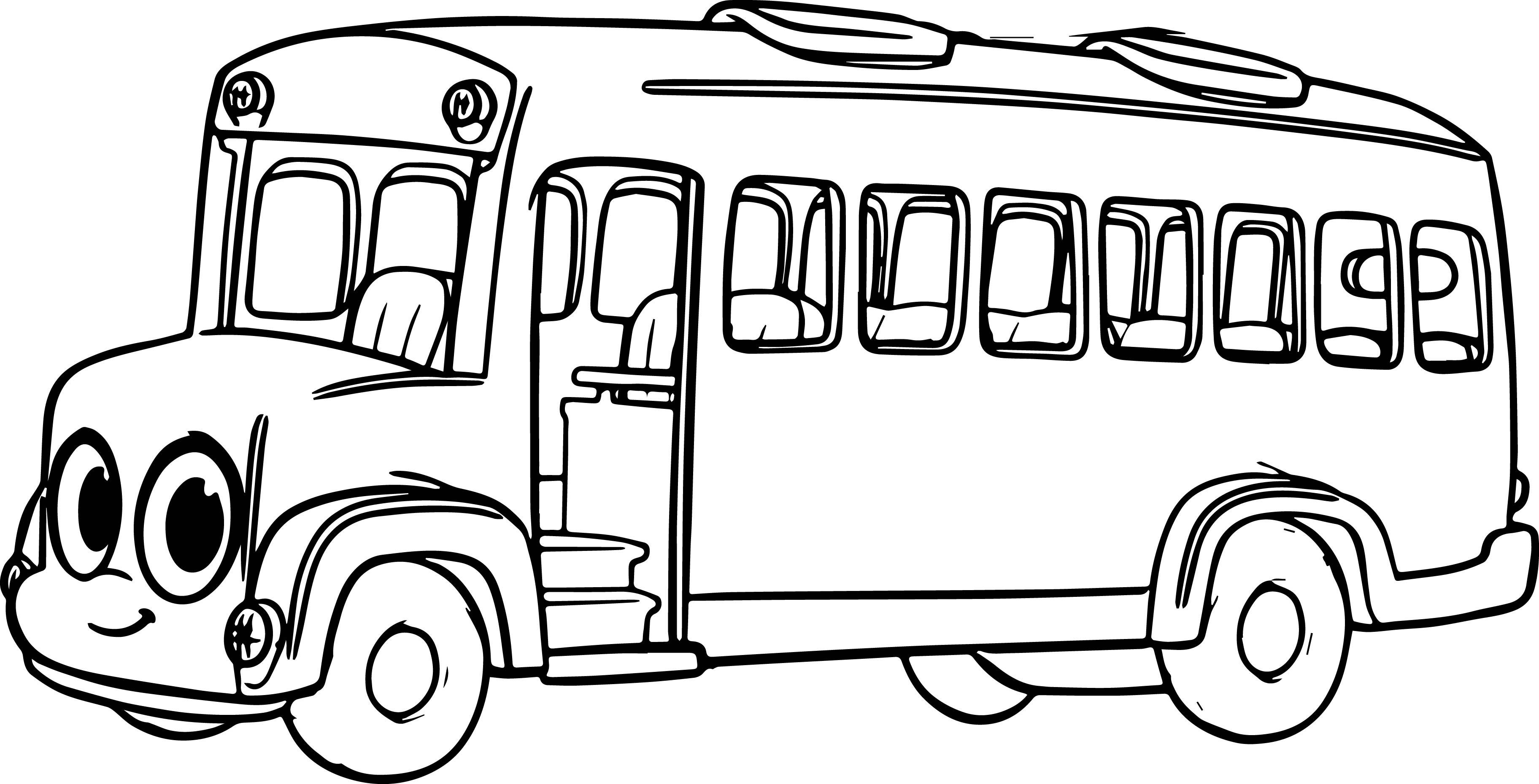 3648x1860 Cartoon Bus Drawing