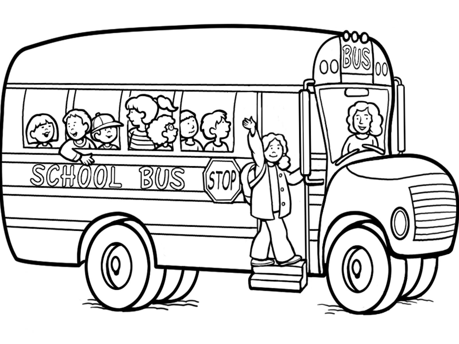 1600x1200 Old School Bus Coloring Page Free Printable Pages Kids Safety