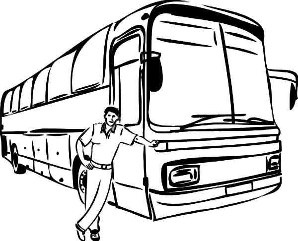 600x486 Bus Driver Taking Picture Beside His Bus Coloring Pages Best