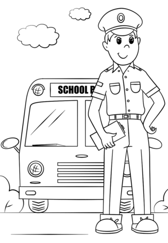 333x480 School Bus Driver Coloring Page Free Printable Pages