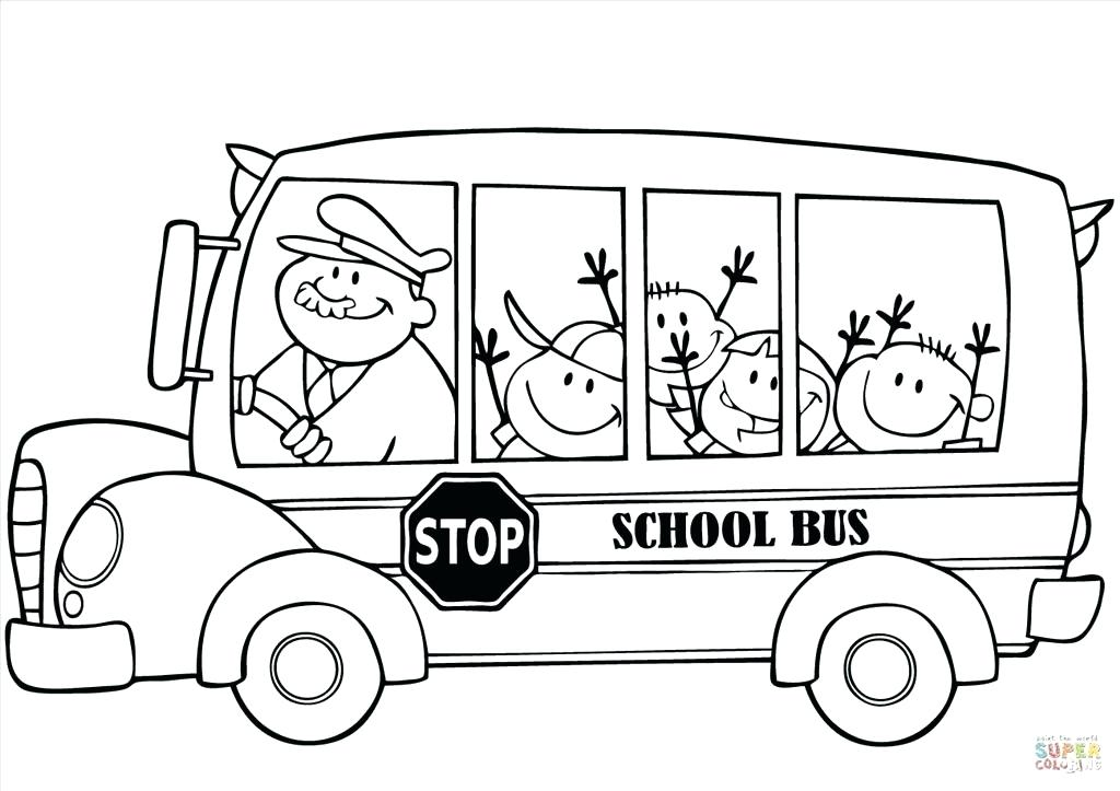 1024x723 Awesome School Bus Coloring Page Or Bus Driver Driving School Bus
