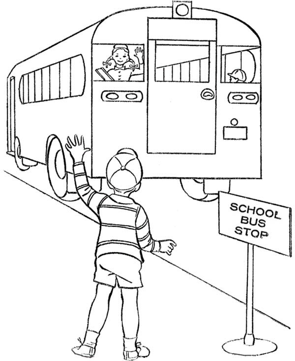 600x734 Bus Stop Coloring Page For Kids