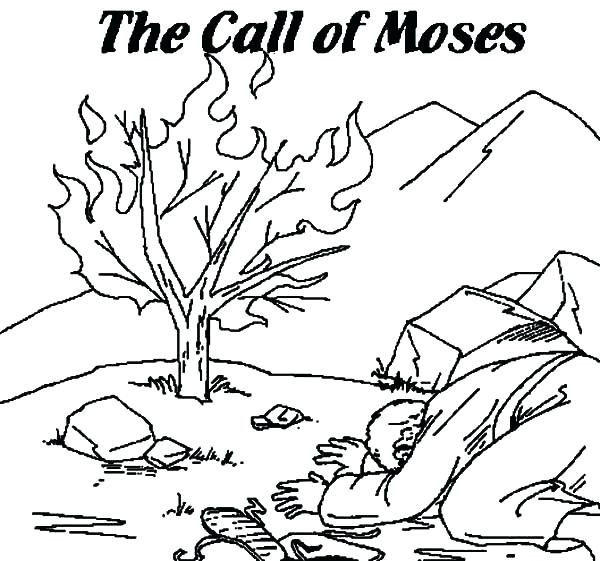 600x561 Moses And The Burning Bush Coloring Page