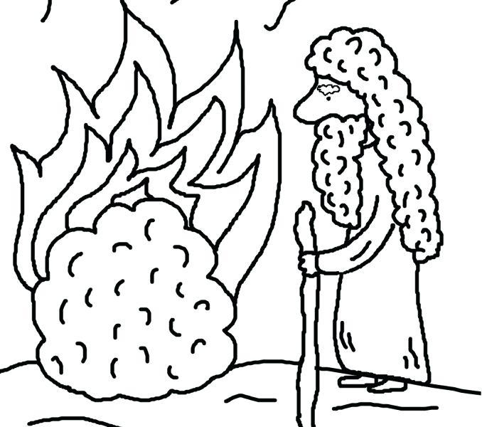 678x600 Moses And The Burning Bush Coloring Page Drawing And Burning Bush