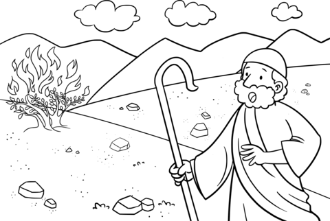 480x322 Moses Amp The Burning Bush Coloring Page Free Printable Pages