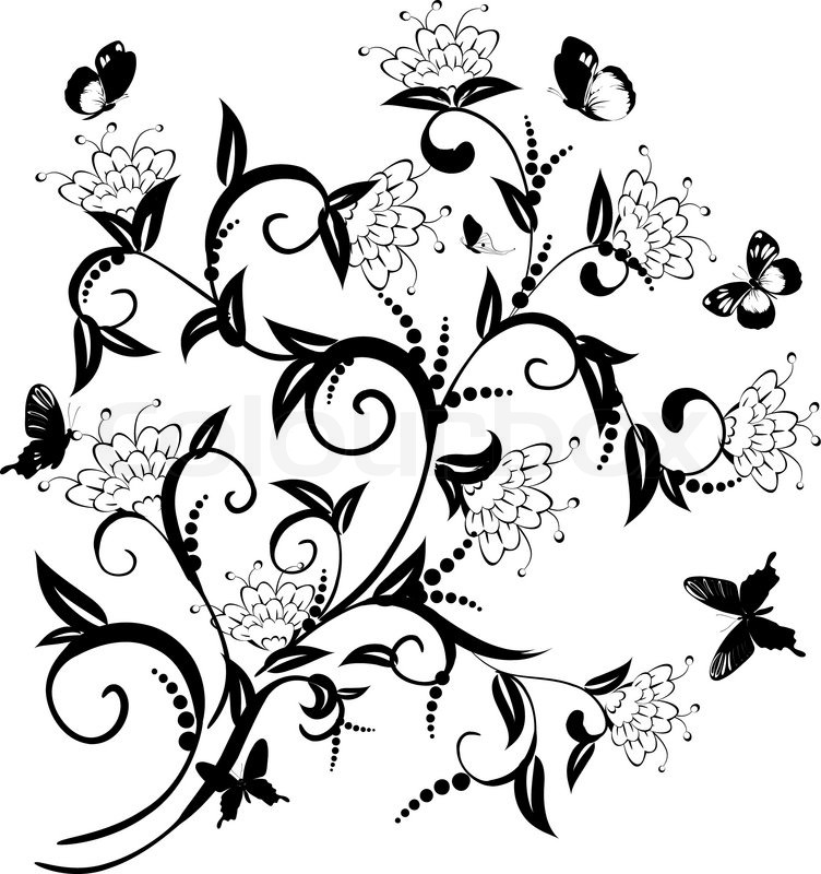 752x800 Pattern Of Flowering Bush With Butterflies Stock Vector Colourbox