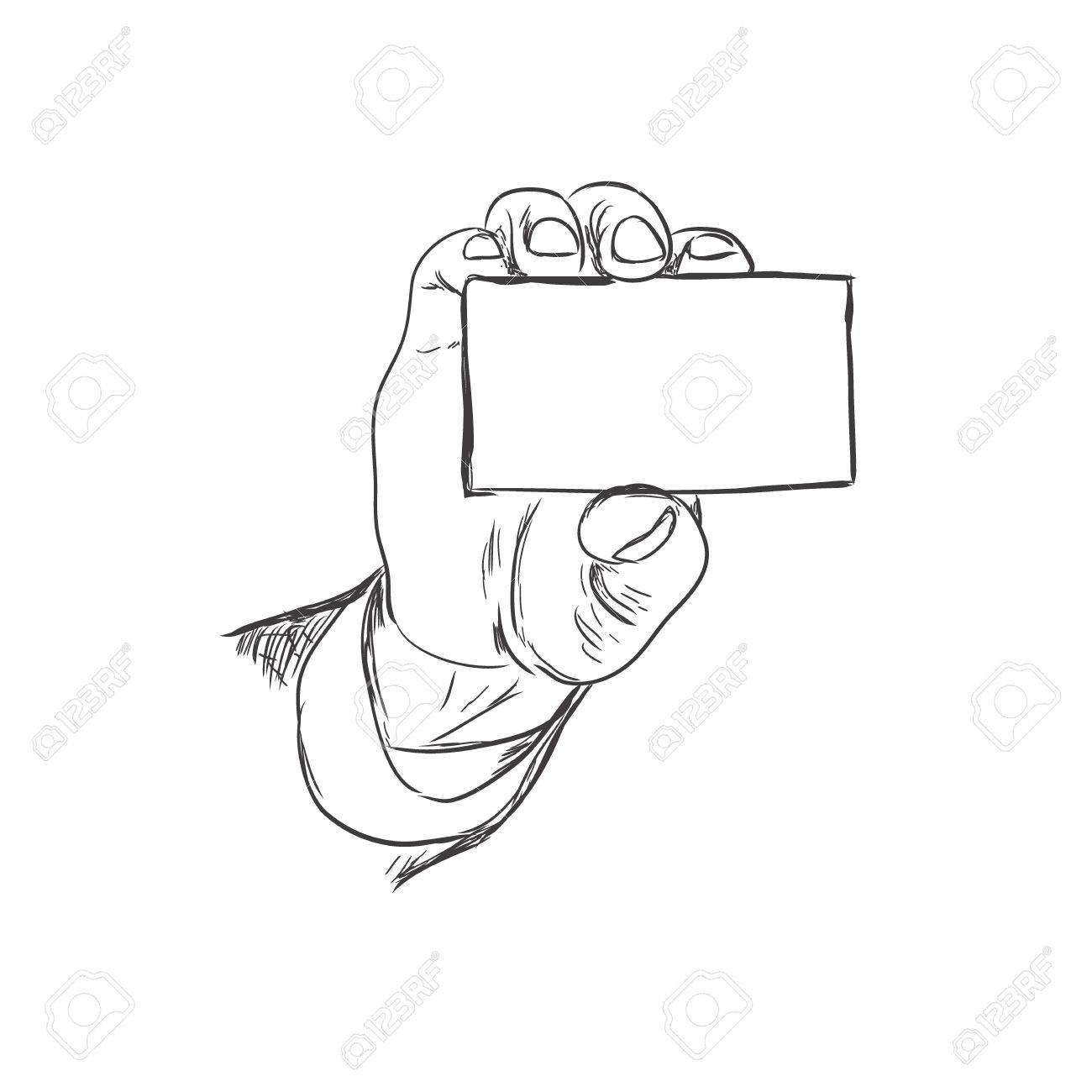 Business card drawing at getdrawings free for personal use 1300x1300 hand holding business card sketch style vector illustration reheart Images