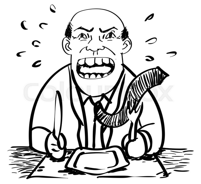 800x734 Cartoon Of Hungry Businessman Was Angry And Waiting Food Drawing