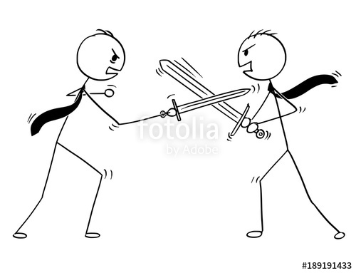 500x383 Cartoon Stick Man Drawing Conceptual Illustration Of Two