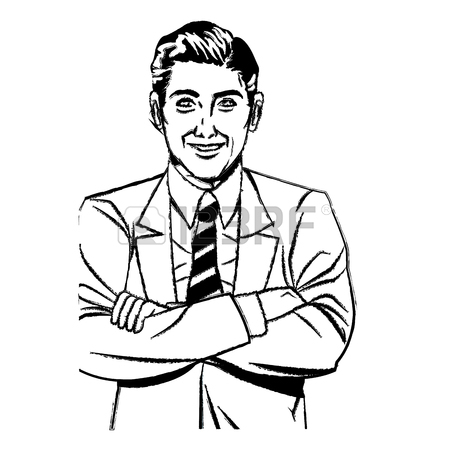 450x450 Drawing Pop Art Man Business Crossed Arms Vector Illustration