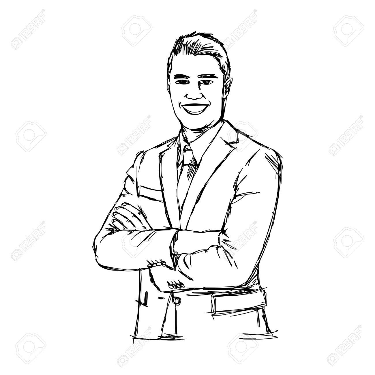 1300x1300 Illustration Doodle Hand Drawn Of Sketch Smiling Businessman