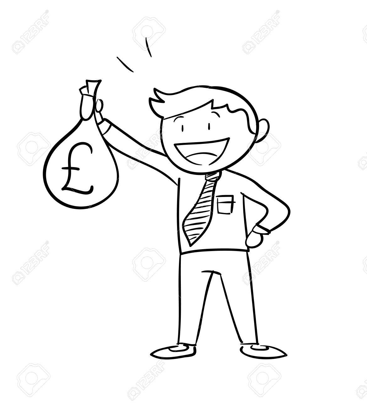 1169x1300 Man Holding Money Bag Pound, A Hand Drawn Vector Illustration